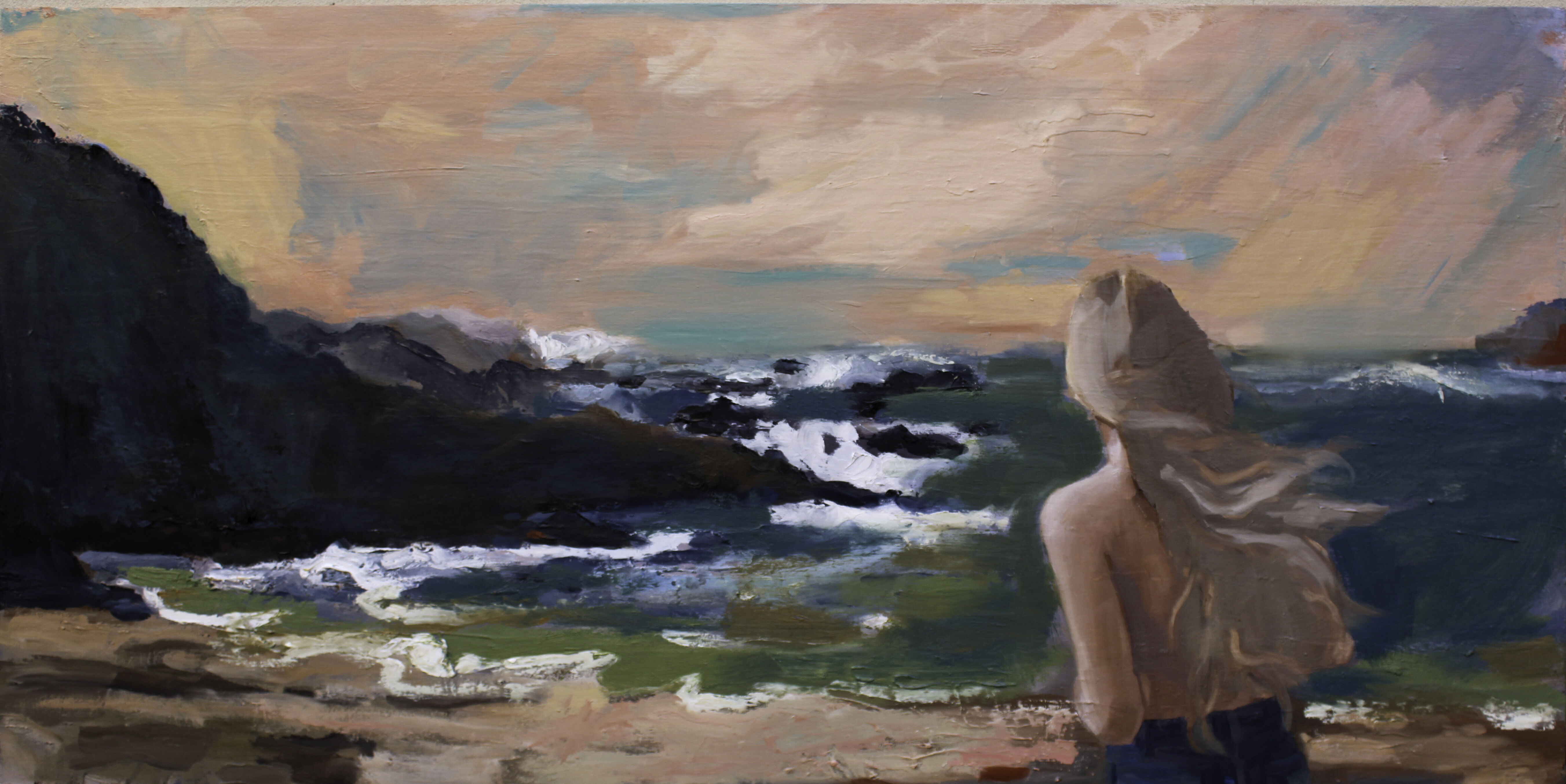 Patrice Wills_Young woman on the Shore 2021_120cm x 60cm