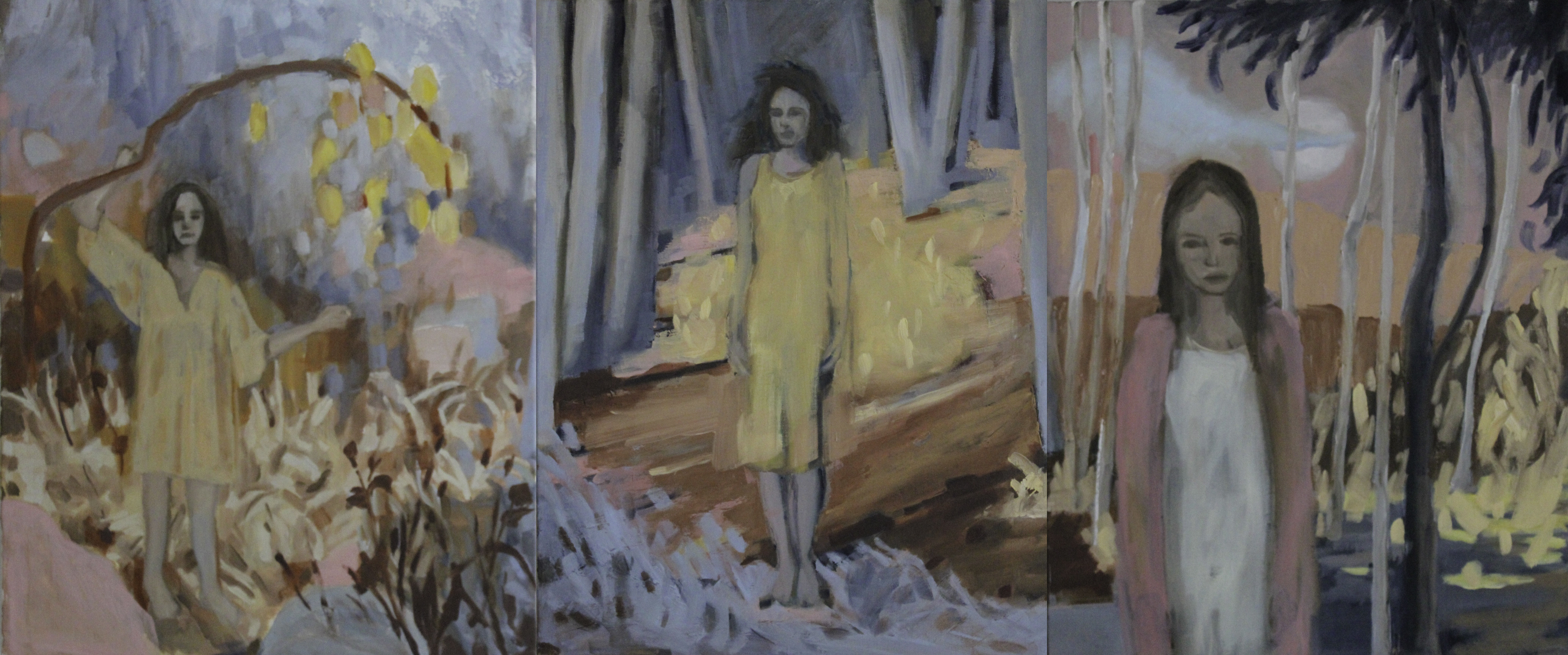 Patrice Wills_Before Too Long_tryptich_oil on linen _125cm x 55cm